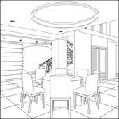 Restaurant Table Set Vector — Stock Vector
