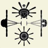 Lustro lampadario look come vettore di timone 01 — Vettoriale Stock