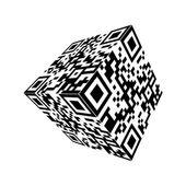 Modern Cube qr code Vector — Stock Vector
