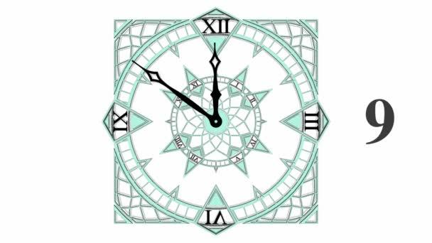 Cuenta regresiva reloj gótico cubo de 10 a 0 animación 02 — Vídeo de stock