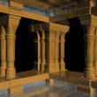 Golden Antique Pillars In The Hall Of Silver 09 — Stock Photo