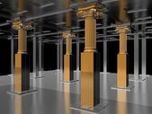 銀 07 のホールで黄金の旧式な柱 — ストック写真