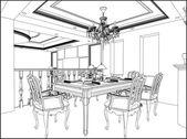 Dining Room Vector 03 — Stock Vector