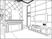 Living Room Vector 08 — Stockvector