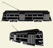 старый трамвай тележки вектор 02 — Cтоковый вектор
