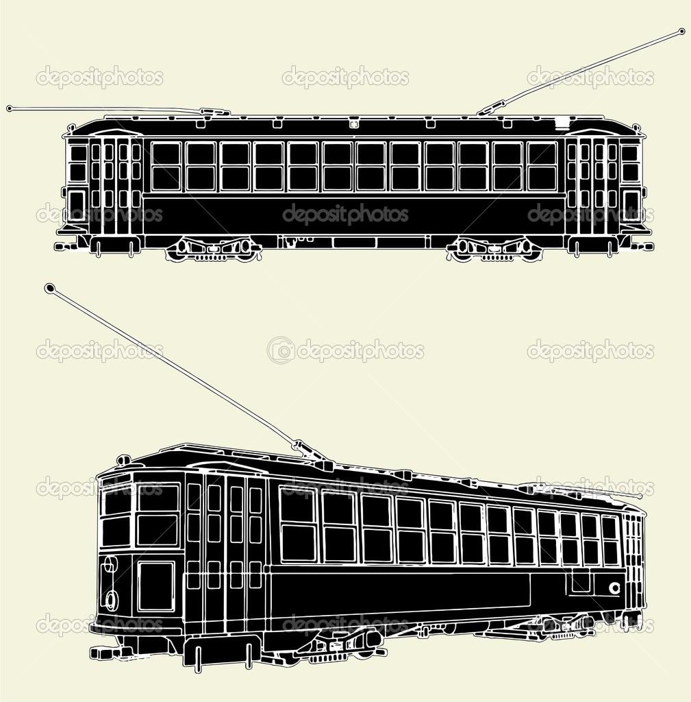 老电车无轨电车矢量