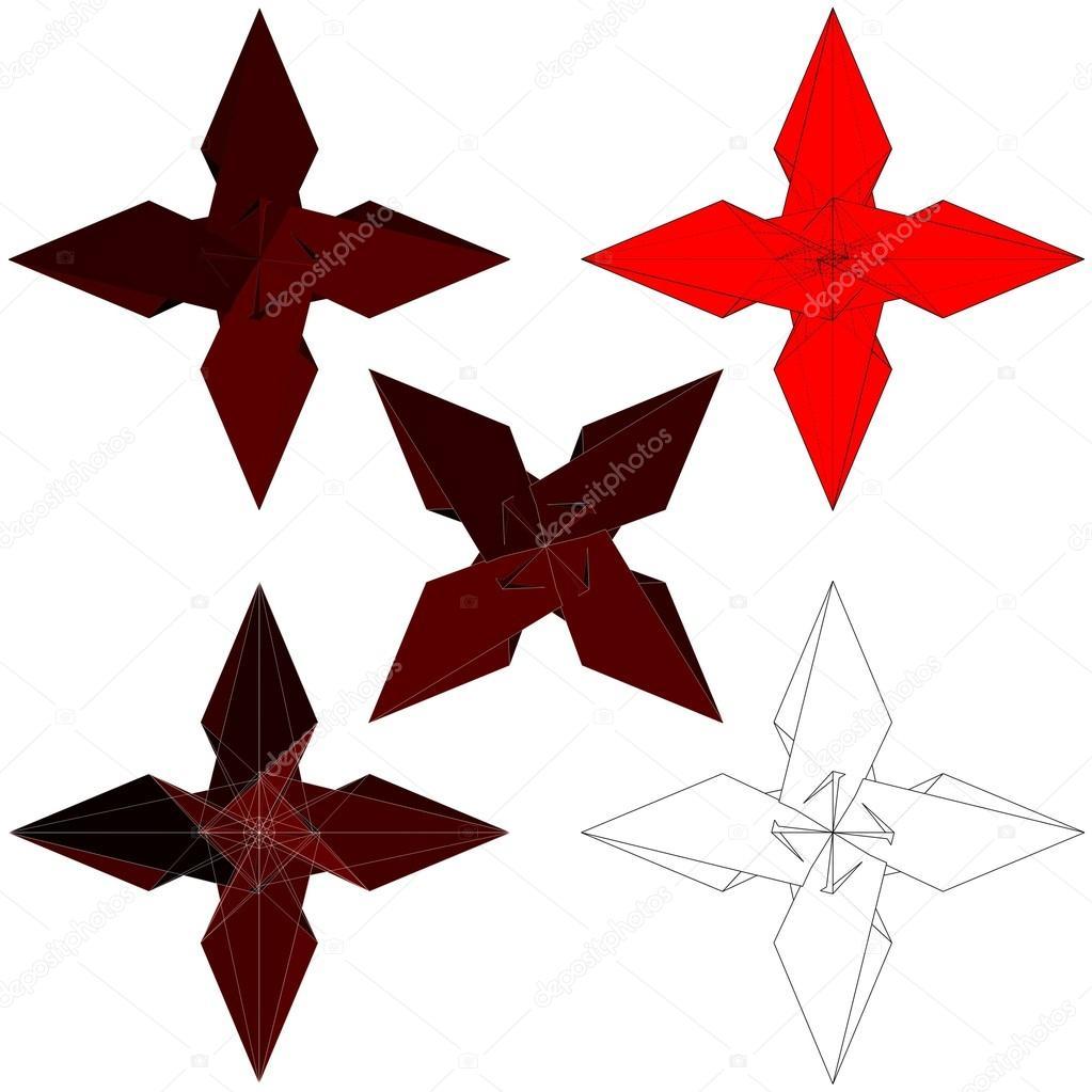 Ninja Stars Vector Ninja Stars Shuriken Isolated