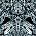 Aliens Spooky Skull Face And Blue Metal Skin Skeleton — Stock Photo #31598603