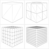 Cut Cube From The Simple To The Complicated Vector — Stock vektor