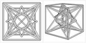 Création géométrique du cube et la pyramide sur son vecteur de six côtés — Vecteur