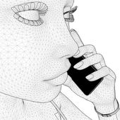 Young Network Woman Holding Mobile Telephone Vector — Stockvector