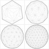 From Icosahedron To The Ball Sphere Lines Vector — Stock Vector