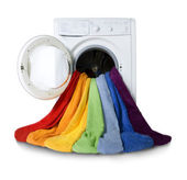 Washing machine and colorful things to wash, Isolated — Stock Photo