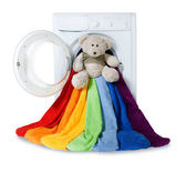 Washing machine, toy and colorful things to wash, isolated — Stock Photo