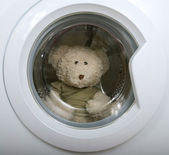 Fluffy toy in the washing machine — Stock Photo