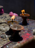 Sacred fire, candles in a buddhist temple — Foto Stock