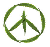 Symbol of peace - marijuana (symbol of the hippie and marijuana — Zdjęcie stockowe