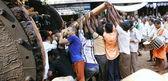 GOKARNA,INDIA - MAR 11: push the festive cart on Mahashiv — Stock Photo