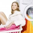 Girl and washing machine  — Stock Photo