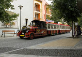 HEVIZ, HUNGARY - 29 AUGUST, 2013: tourist train in the street in — Stock Photo