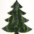Christmas tree paper cutting with green garlands, concept for pa — Stock Photo
