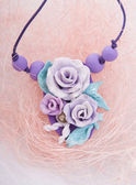 Fashion studio shot of a floral rose necklace (jewelery made of  — Stock Photo