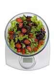 Diet. Vegetables salad in a bowl with weight scale, isolated on  — Stock Photo