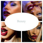 Makeup Collage. Beautiful young women with stylish bright make-u — Stock Photo