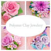 Collage of a polymer clay jewelery: floral jewelery made of poly — Stock Photo