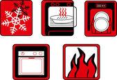 厨房和烹饪按钮设置 — 图库矢量图片