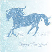Horse of Snowflakes — Stock Vector