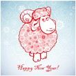 Funny sheep on white background of Snowflakes 1. — Stock Vector #51336675
