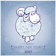 Funny sheep on white background of Snowflakes 2 — Stock Vector #51336749