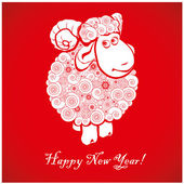 Funny sheep on bright red background 1 — Stock Vector