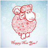 Funny sheep on white background of Snowflakes 1. — Stock Vector