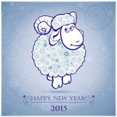 Funny sheep on white background of Snowflakes 2 — Vecteur