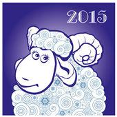 Funny pecore su sfondo blu — Vettoriale Stock