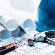 Stock Photo: Architecture blueprints, Blue tone