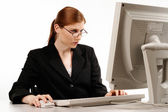 Woman working with the computer — Stock Photo