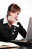 Beautiful call center operator — Stock Photo