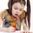 Little girl drawing on white background — Stock Photo