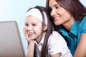 Family life series - working on laptop — Stock Photo