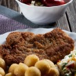 Breaded chop, prepared potatoes and salad - Stock Photo