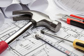 Architecture blueprints and tools — Stock Photo