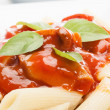 Stock Photo: Pastwith tomato sauce. Selective focus