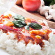 Chicken in tomato sauce with rice. — Stock Photo #25990463