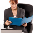 Young woman working with computer — Stock Photo