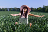 Young woman working with a laptop outdoor — Stock Photo