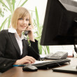 Stock Photo: Female executive talking on phone in office