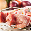 Raw shashlik on grill - Foto Stock